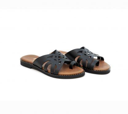 art 307 flat sandals black φλατ πέδιλο μαύρο