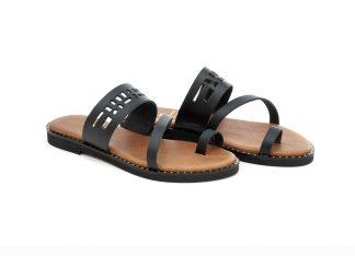 art 308 flat sandals black φλατ πέδιλο μαύρο